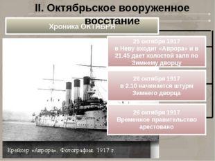 Хроника ОКТЯБРЯ 25 октября 1917 в Неву входит «Аврора» и в 21.45 дает холосто
