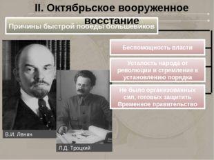 Причины быстрой победы большевиков Беспомощность власти II. Октябрьское воору