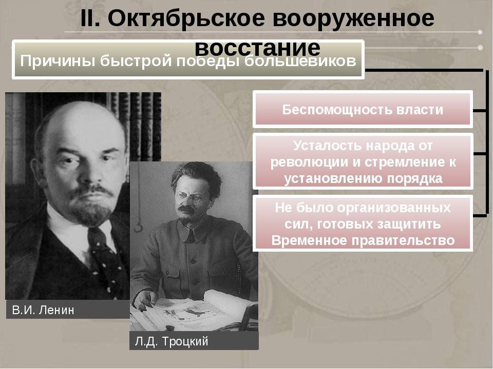 Причины быстрой победы большевиков Беспомощность власти II. Октябрьское воору...