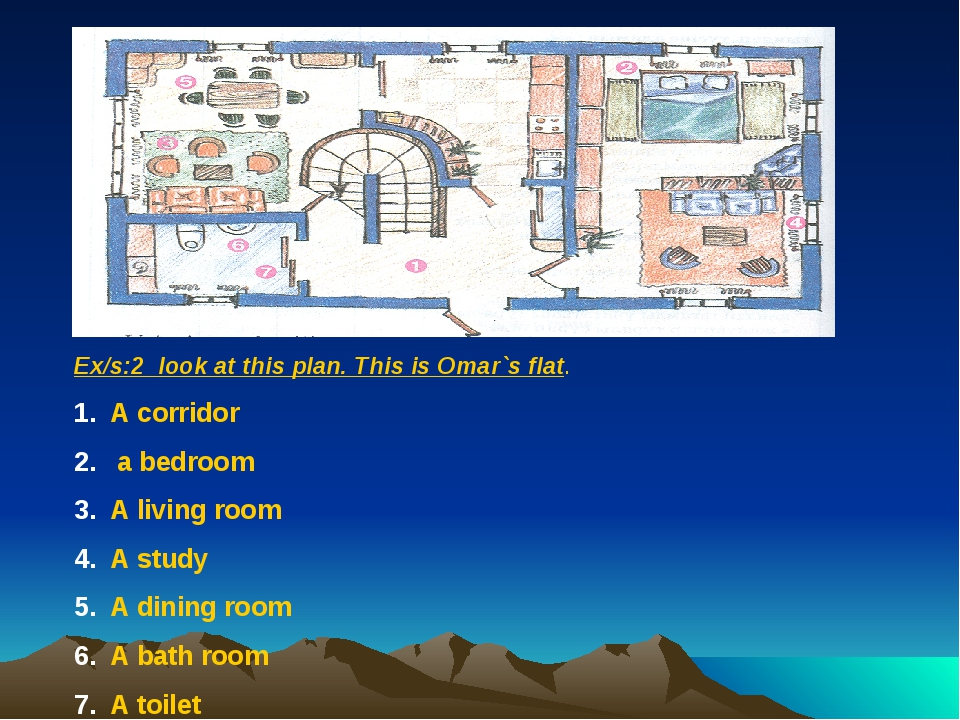 Ex/s:2 look at this plan. This is Omar`s flat. A corridor a bedroom A living...