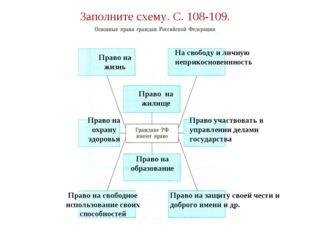 Заполните схему. С. 108-109. Право на жизнь На свободу и личную неприкосновен