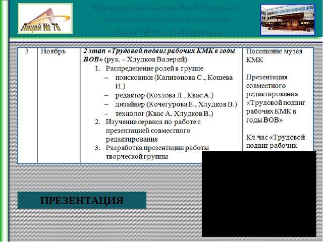 ПРЕЗЕНТАЦИЯ Муниципальное нетиповое бюджетное общеобразовательное учреждение...