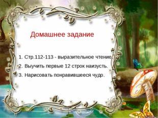 Домашнее задание Стр.112-113 - выразительное чтение. Выучить первые 12 строк