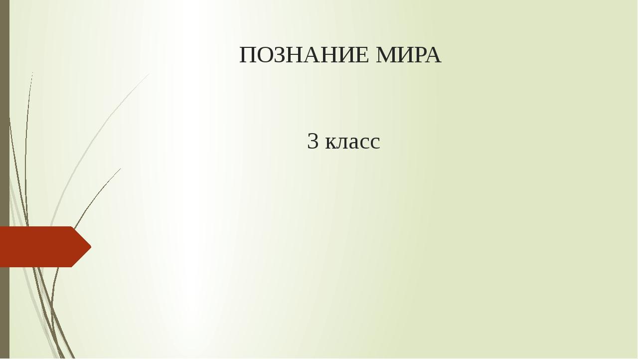 ПОЗНАНИЕ МИРА 3 класс