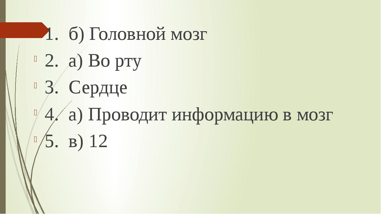 1. б) Головной мозг 2. а) Во рту 3. Сердце 4. а) Проводит информацию в мозг...