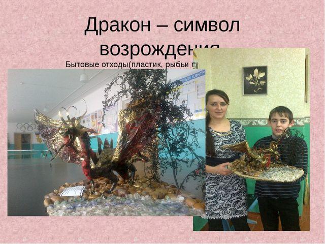 Дракон – символ возрождения. Бытовые отходы(пластик, рыбьи плавники, чешуя).