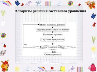 Алгоритм решения составного уравнения Матюшкина А.В. http://nsportal.ru/user/