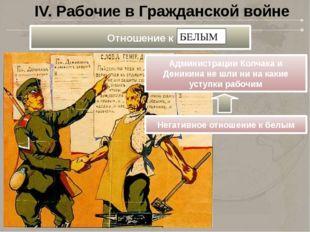 IV. Рабочие в Гражданской войне Администрации Колчака и Деникина не шли ни на
