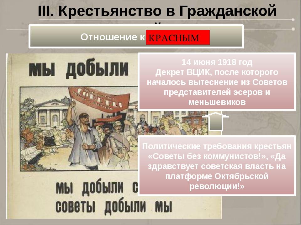 III. Крестьянство в Гражданской войне 14 июня 1918 год Декрет ВЦИК, после кот...