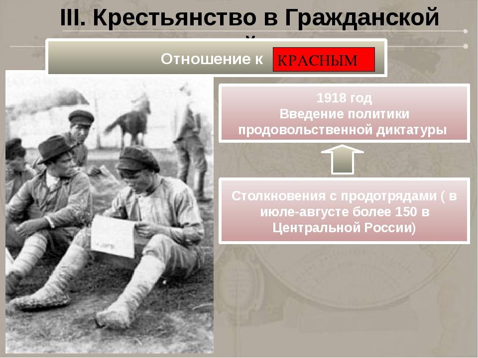 III. Крестьянство в Гражданской войне 1918 год Введение политики продовольств...
