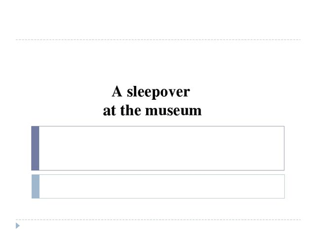 A sleepover at the museum