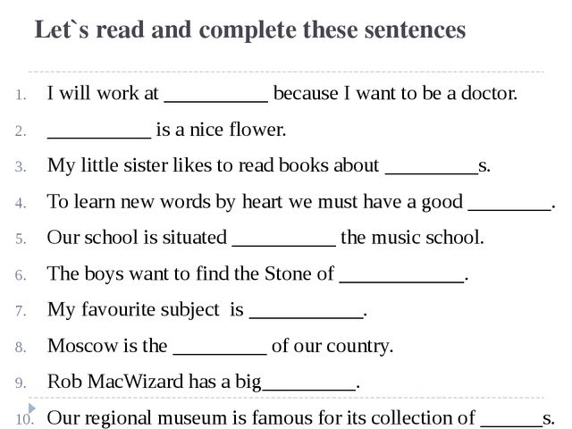 Let`s read and complete these sentences I will work at __________ because I w...
