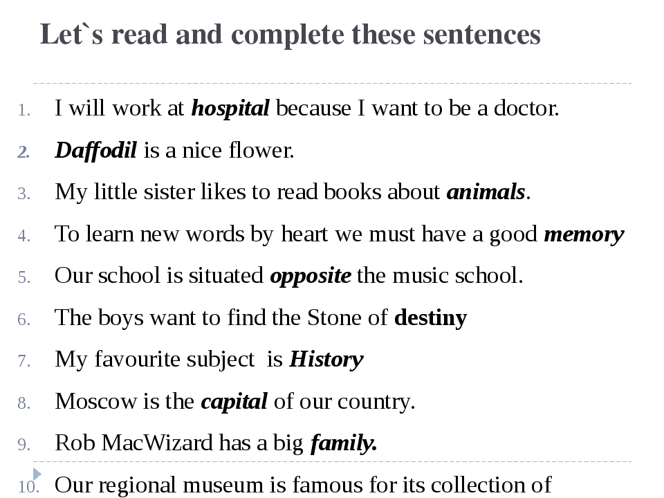 Let`s read and complete these sentences I will work at hospital because I wan...