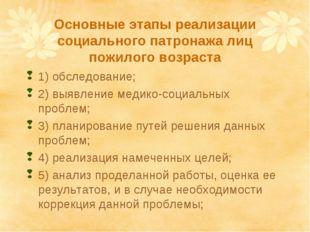 Основные этапы реализации социального патронажа лиц пожилого возраста 1) обсл