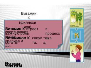 Витамин К (филлохинон) Витамин К играет важную роль в процессах свертывания
