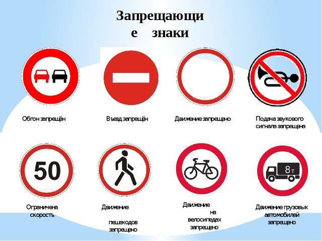 Запрещающие знаки Обгон запрещён Въезд запрещён Движение запрещено Подача зву...