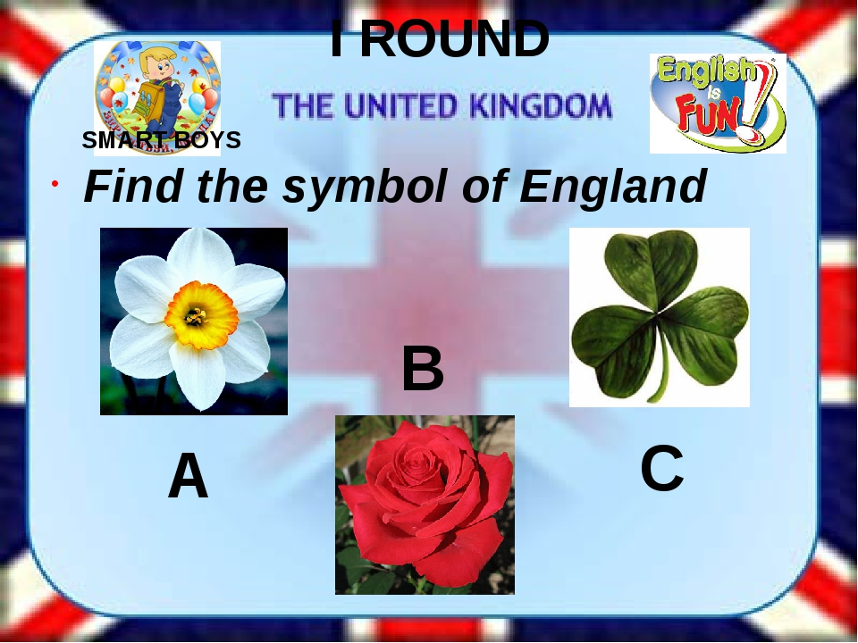 I ROUND Find the symbol of England A B C SMART BOYS