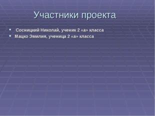 Участники проекта Сосницкий Николай, ученик 2 «а» класса Мацко Эмилия, учениц