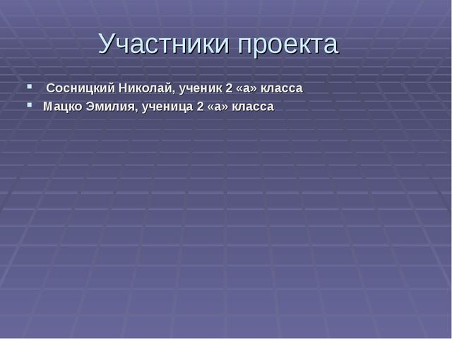 Участники проекта Сосницкий Николай, ученик 2 «а» класса Мацко Эмилия, учениц...