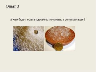 Опыт 3 А что будет, если гидрогель положить в соленую воду?