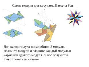 Схема модуля для кусудамы Bascetta Star Для каждого луча понадобится 3 модул