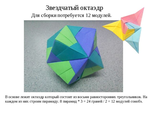 Для сборки потребуется 12 модулей. Звездчатый октаэдр В основе лежит октаэдр...
