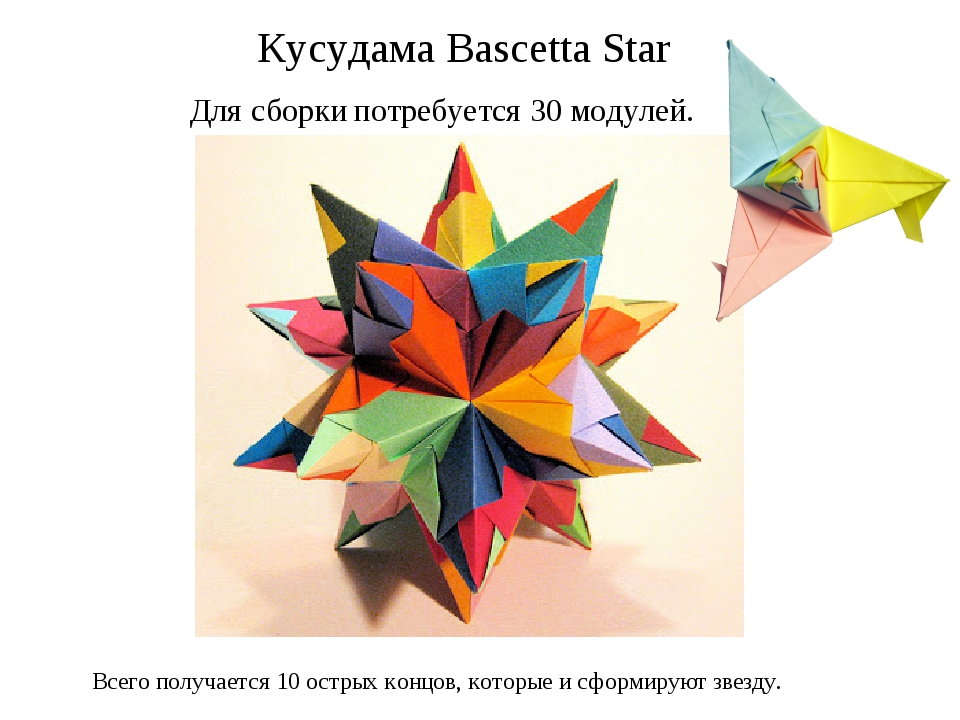 Для сборки потребуется 30 модулей. Кусудама Bascetta Star Всего получается 1...