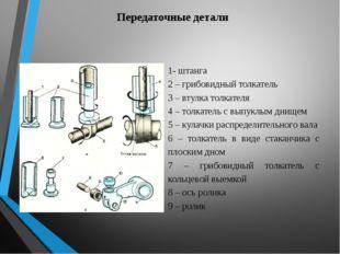 Передаточные детали 1- штанга 2 – грибовидный толкатель 3 – втулка толкателя
