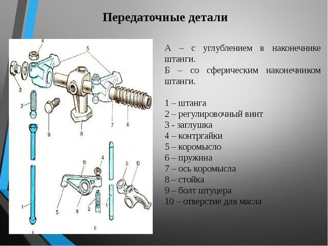 Передаточные детали А – с углублением в наконечнике штанги. Б – со сферически...