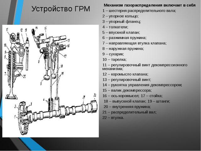 Устройство ГРМ Механизм газораспределения включает в себя 1 – шестерня распре...