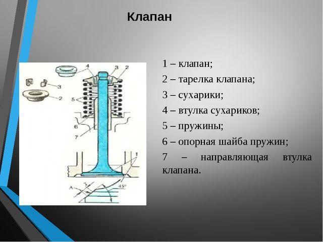 Клапан 1 – клапан; 2 – тарелка клапана; 3 – сухарики; 4 – втулка сухариков; 5...