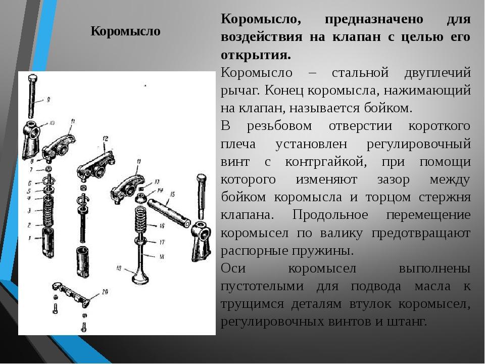 Коромысло Коромысло, предназначено для воздействия на клапан с целью его откр...