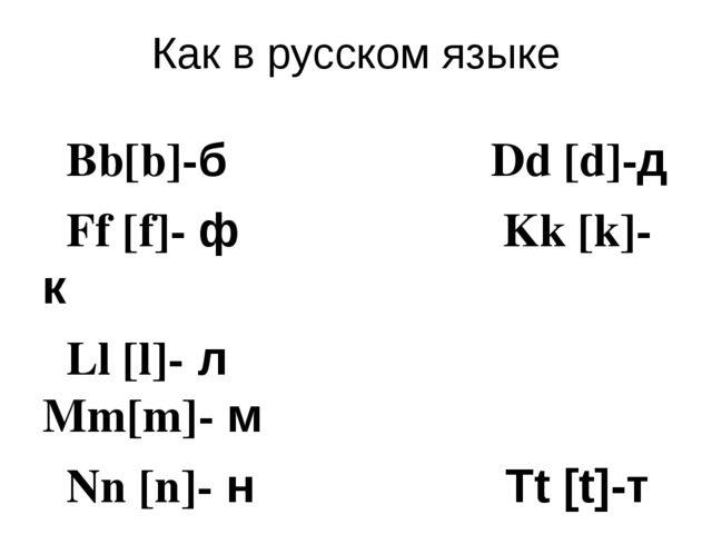 Как в русском языке Bb[b]-б Dd [d]-д Ff [f]- ф Kk [k]-к Ll [l]- л Mm[m]- м Nn...