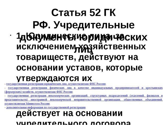 Статья 52 ГК РФ.Учредительные документы юридических лиц 1. Юридические лица,...