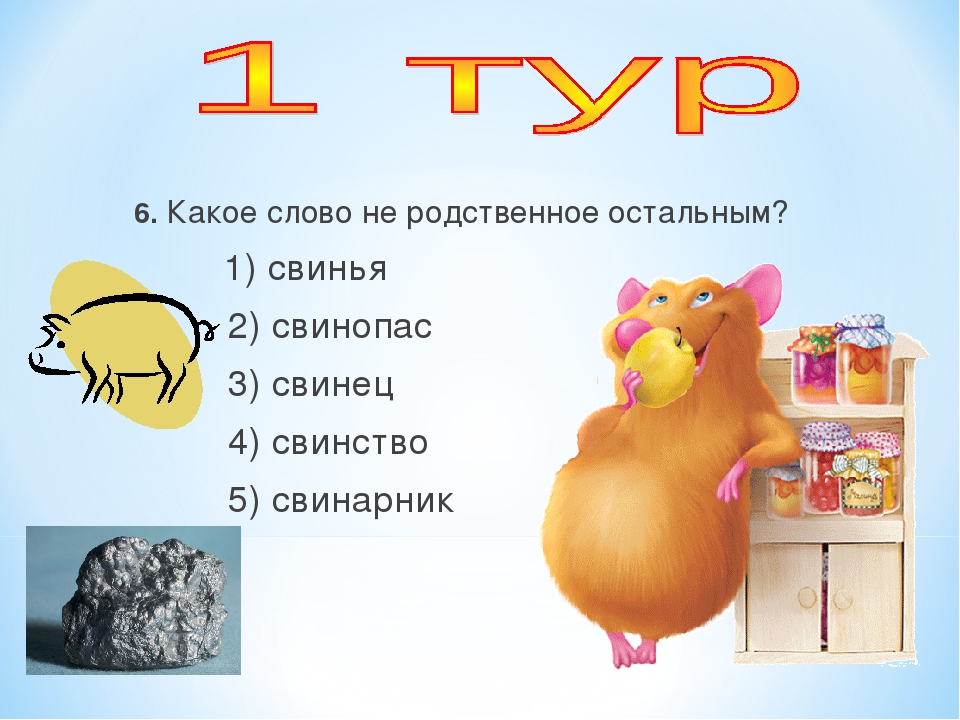 6. Какое слово не родственное остальным? 1) свинья 2) свинопас 3) свинец 4) с...