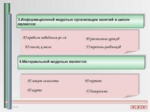 3.Информационной моделью организации занятий в школе является: А) правила пов