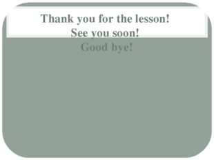 Thank you for the lesson! See you soon! Good bye!
