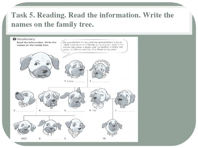 Task 5. Reading. Read the information. Write the names on the family tree.