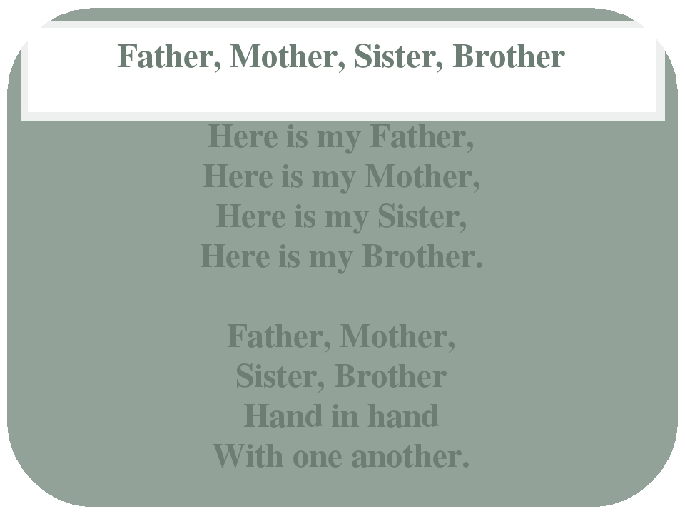 Father, Mother, Sister, Brother Here is my Father, Here is my Mother, Here is...
