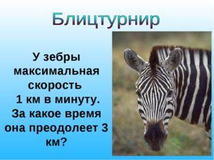 У зебры максимальная скорость 1 км в минуту. За какое время она преодолеет 3
