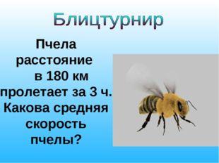 Пчела расстояние в 180 км пролетает за 3 ч. Какова средняя скорость пчелы?