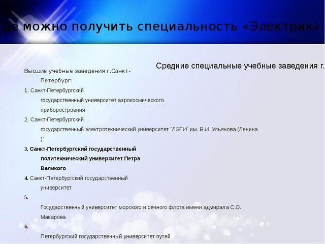 Где можно получить специальность «Электрик» Высшие учебные заведения г.Санкт-...