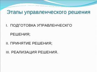 Этапы управленческого решения ПОДГОТОВКА УПРАВЛЕНЧЕСКГО РЕШЕНИЯ; ПРИНЯТИЕ РЕШ