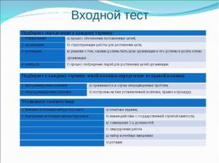 Входной тест  Подберите определение к каждому термину: 1. планирование