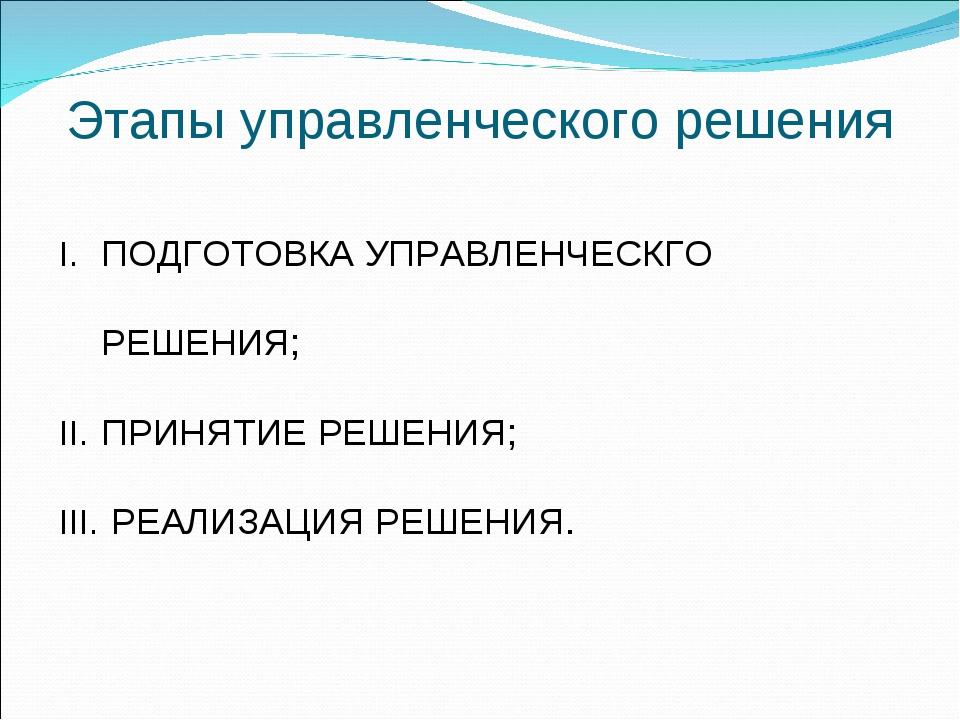 Этапы управленческого решения ПОДГОТОВКА УПРАВЛЕНЧЕСКГО РЕШЕНИЯ; ПРИНЯТИЕ РЕШ...