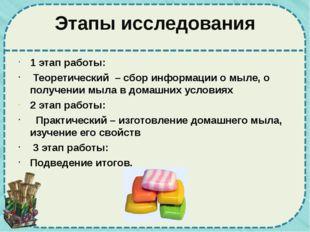 Этапы исследования 1 этап работы: Теоретический – сбор информации о мыле, о п