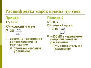 Расшифровка марок ковких чугунов Пример 1 КЧ 30-6 КЧ-ковкий чугун 30 =300МПа