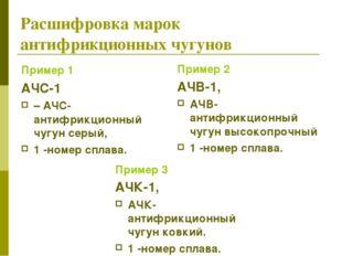 Расшифровка марок антифрикционных чугунов Пример 1 АЧС-1 – АЧС-антифрикционны