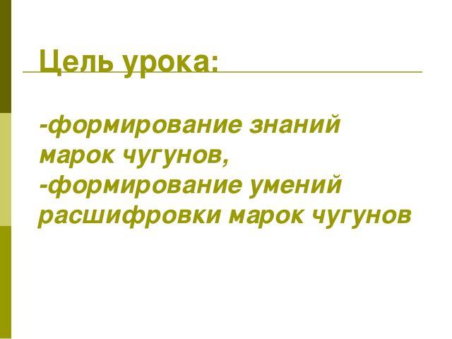 Цель урока: -формирование знаний марок чугунов, -формирование умений расшифро...