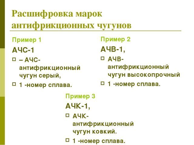 Расшифровка марок антифрикционных чугунов Пример 1 АЧС-1 – АЧС-антифрикционны...